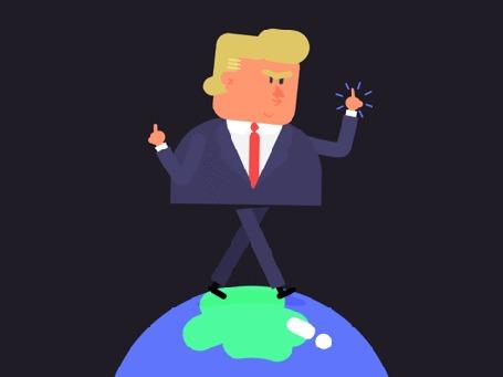 Анимация Дональд Трамп шагает по планете