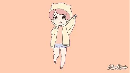 Анимация Ребенок поднимает руки вверх топая на месте, by MisaKarin