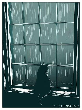 Анимация Кошка смотрит в окно, за которым идет дождь