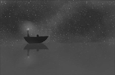 Анимация Девушка в лодке на воде ночью, by MisaKarin