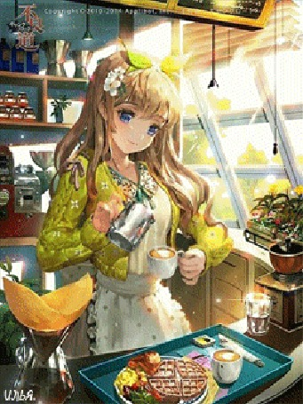 Анимация Ясный солнечный день за окном, на часах примерно середина дня, здесь на одной из улиц в местном ресторане, национальной азиатской кухни, которая получила широкое распространение во всем мире, и популярность ее с годами становилась все больше, включающей японские, корейские, китайские, таиландские и вьетнамские блюда, здесь юная девушка-официант, обслуживает своих посетителей и в данный момент наливает кофе в чашку и уже собрала заказ на поднос для кого-то из посетителей