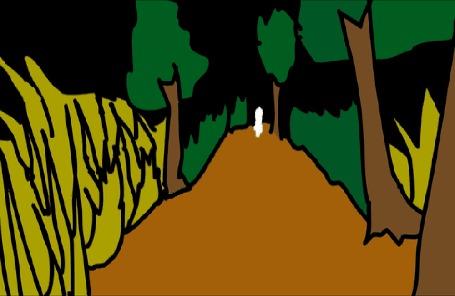 Анимация Привидение появляется из чащи леса