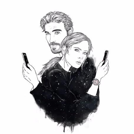 Анимация Девушка и парень с телефонами в руках
