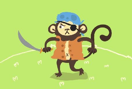 Анимация Смешной пират с саблей идет в атаку