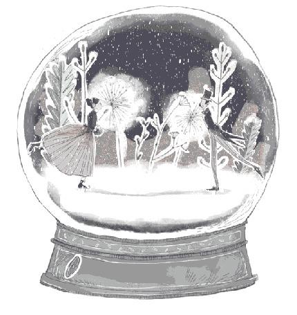 Анимация Снежный шар с катающейся на коньках парочкой на фоне заснеженных цветов, by lakritzellaz