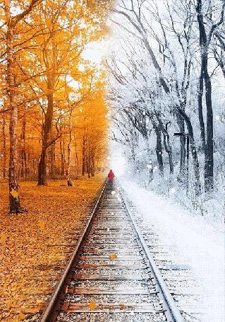 Анимация Девушка стоит на железной дороге, которая разделяет осень и зиму