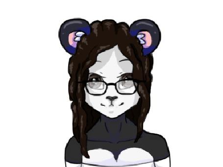 Анимация Пандачка в очках с развевающими волосами, by Badgerkit