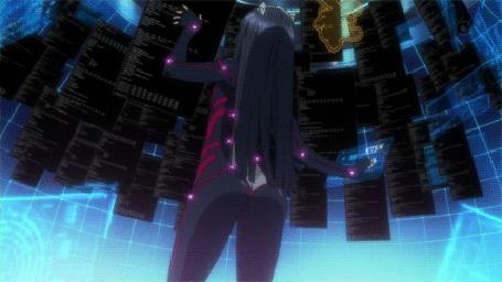 Анимация Цугуми / Tsugumi из аниме Корона Грешника / Guilty Crown танцует попой возле черной панели с надписями