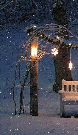 Анимация Лавочка у заснеженных деревьев, а над ней висит горящая гирлянда в форме звездочек