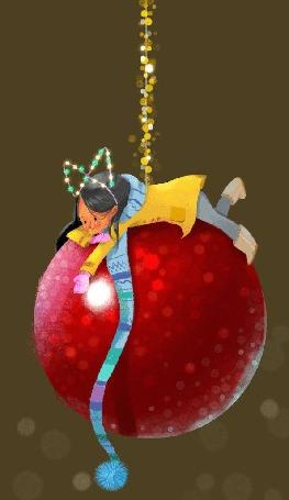 Анимация Девочка лежит на новогоднем шаре