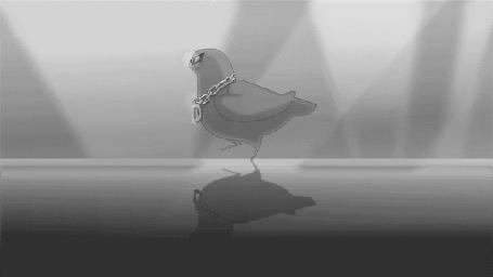Анимация Танцующий голубь в очках и золотой цепочкой с буквой D, by TheCuriousFool