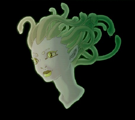 Анимация Горгона Медуза на темном фоне, by TheCuriousFool