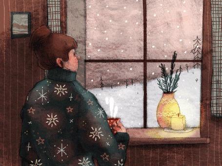 Анимация Девушка в большом свитере и чашкой чая в руках наблюдает за снегопадом за окном