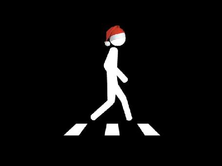 Анимация Белая фигурка в новогодней шапочке шагает по пешеходному переходу