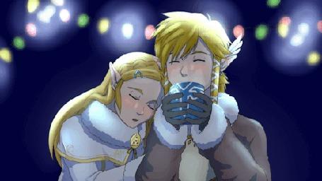 Анимация Link / Линк и Princess Zelda / Twilight Zelda / Принцесса Зельда из игры The Legend of Zelda на фоне сияющей гирлянды