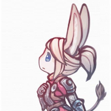 Анимация Голубоглазая воительница с ослиными ушками и хвостом, by chocolate-rebel