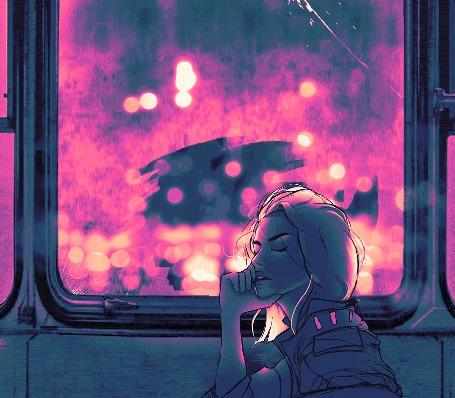 Анимация Девушка сидит у окошка в городском транспорте, by Rashed AlAkroka