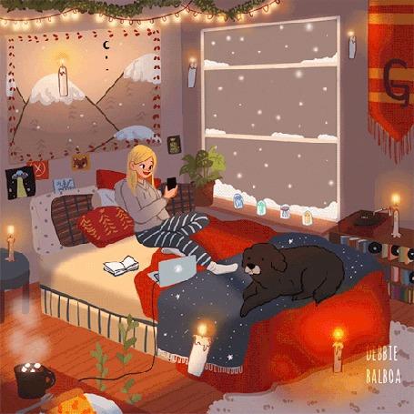 Анимация Девушка с телефоном и собака на кровати перед окном, за которым идет снег, by Debbie Balboa