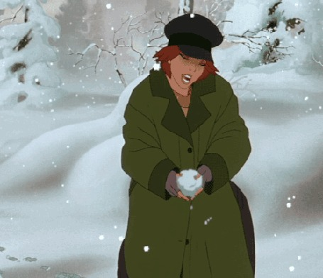 Анимация Девушка подбрасывает вверх снег