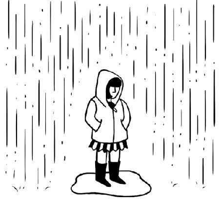 Анимация Девочка в куртке с капюшоном прыгает в луже под дождем