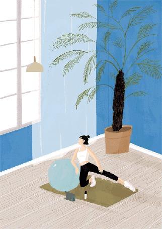 Анимация Девушка занимается гимнастикой на полу, облокотившись на шар, by Oamul Lu