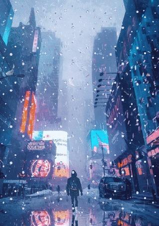 Анимация Парень на улице города под снегопадом