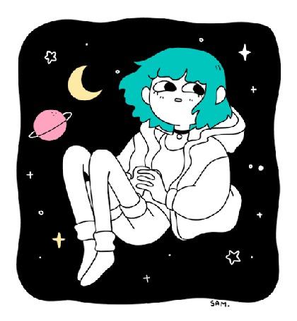 Анимация Моргающая девочка с бирюзовыми волосами в космосе