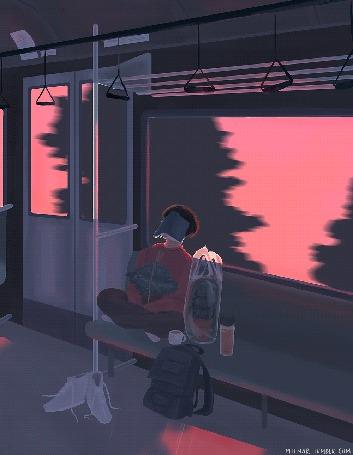 Анимация Парень едет в транспорте, сидя в позе лотоса, с книгой на лице, растениями в горшках, чашкой напитка из термоса, рюкзаком и кедами рядом, by mienar
