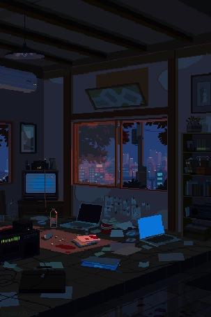 Анимация За окном пустой, заставленной техникой комнаты со следами крови колышутся ветки дерева и вдалеке проезжает поезд