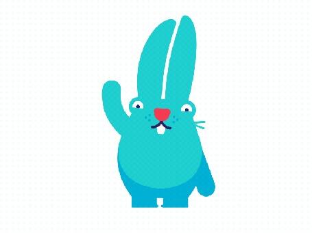 Анимация Голубой кролик машет лапкой