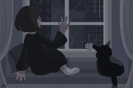Анимация Девочка с котом сидят на подоконнике, глядя в окно на мрачный город под дождем, рядом стоит кружка с горчим напитком, by Liphoeryx