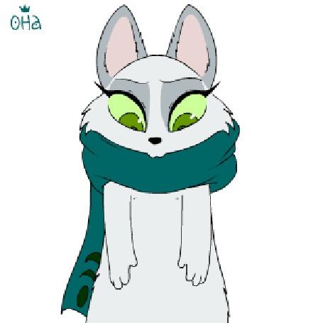 Анимация Белая кошечка пытается снять со своей шеи шарф, но у нее ничего не получается и она падает на пол, by Oha (HOPELESS)