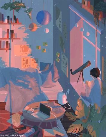 Анимация В комнате, освещаемой лучами заходящего солнца, мальчик сидит на подоконнике с телескопом, by mienar
