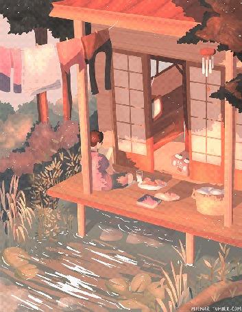 Анимация Мальчик читает книгу, сидя на веранде дома, под которым протекает ручей, by mienar