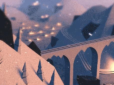 Анимация Поезд мчит по заснеженным холмам, расположенным недалеко от города