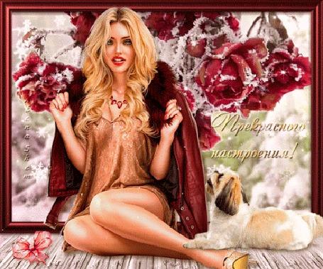 Анимация Девушка на фоне гроздьев заснеженных роз и с собачкой, (Прекрасного настроения!)