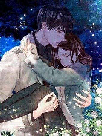 Анимация Где-то в городском парке, под ночным звездным небом, на фоне близстоящих деревьев и цветущих рядом белых цветов роз, молодой юноша лет двадцати, держит на руках и крепко обнимает свою плачущую девушку-друга, которую очень сильно любит и являющейся также его ровесницей