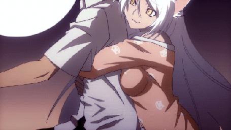 Анимация Tsubasa Hanekawa / Цубаса Ханэкава обнимает сзади Koyomi Araragi / Коеми Арараги из аниме Bakemonogatari / Истории монстров