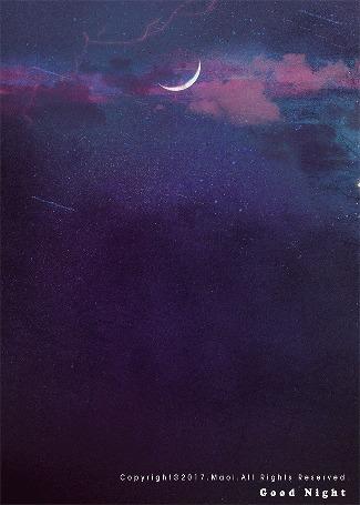 Анимация Луна на ночном небе, (Good night / хорошей ночи), by Maoi