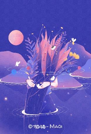 Анимация Девушка с огромным букетом из листьев и цветов стоит в воде ночью