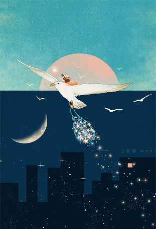 Анимация Девочка на чайке парит перед над ночным городом, by Maoi