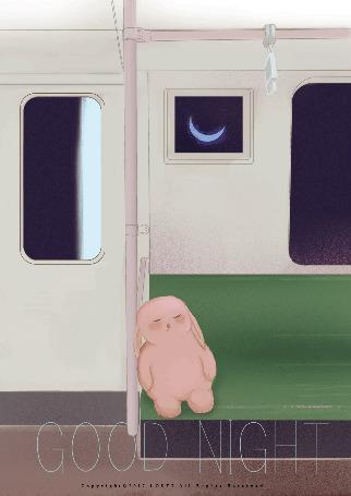 Анимация Плюшевый кролик спит в вагоне поезда (, за окнами которого космосGOOD NIGHT)
