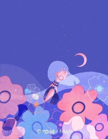 Анимация Девочка в окружении цветов, by Maio