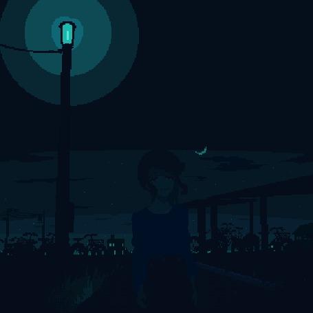 Анимация Девочка стоит ночью на дороге, by ozumikan