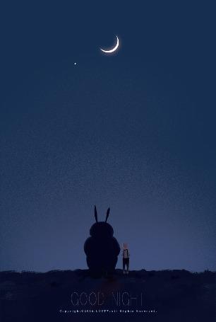 Анимация Мальчик и огромный кролик смотрят на падающие звезды (GOOD NIGHT)
