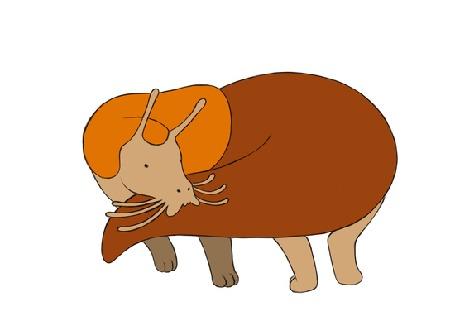 Анимация Слизняк держится за свой хвост делая оборот с ним, by Maquenda