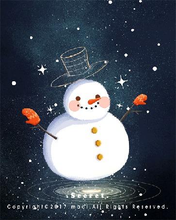 Анимация Снеговик под снегопадом, by Maoi
