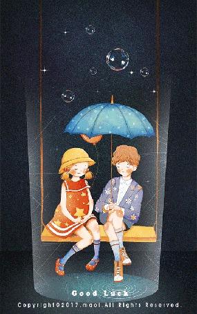 Анимация Мальчик с девочкой сидят на качели под зонтом, (Good Luck / удачи), by Maoi