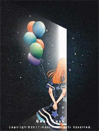 Анимация Девушка с воздушными шарами стоит у открытой двери, by Maoi