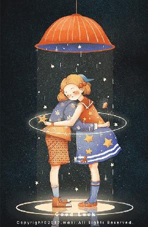 Анимация Девочка с мальчиком стоят под дождем, by Maoi